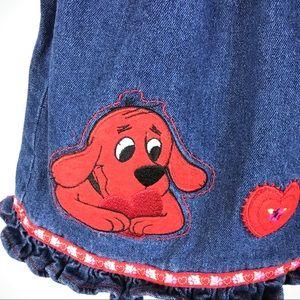 Dresses - Clifford the Big Red Dog toddler denim jumper